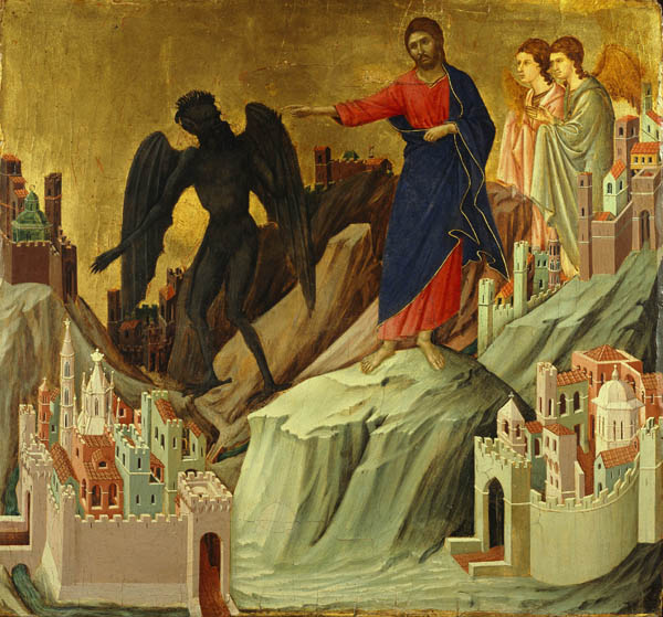 Temptation of Christ on the Mountain - Duccio di Buoninsegna