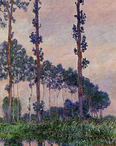 Three Poplars in Grey Weather - Claude Monet