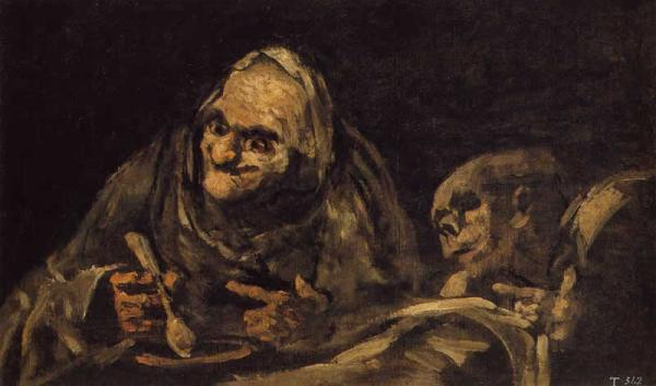 Two Old Men Eating Soup - Francisco Goya
