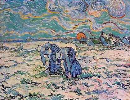 Two Peasant Women Digging - Vincent van Gogh