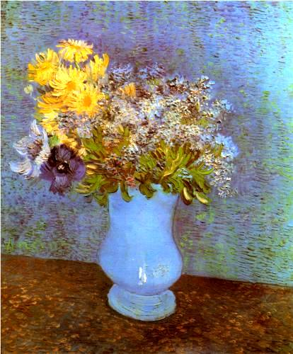 Vase of Lilacs, Daisies and Anemones - Vincent Van Gogh