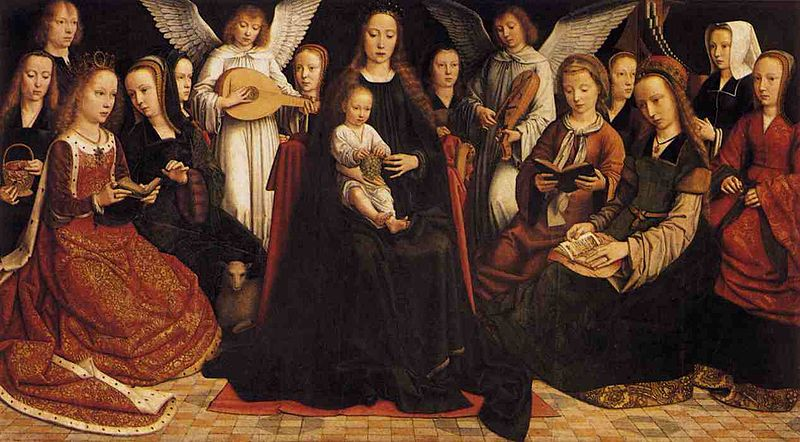 Virgin among the Virgins and Angels - Gerard David
