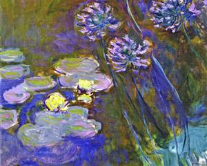 Water Lilies and Agapanthus 1914-1917 - Claude Monet