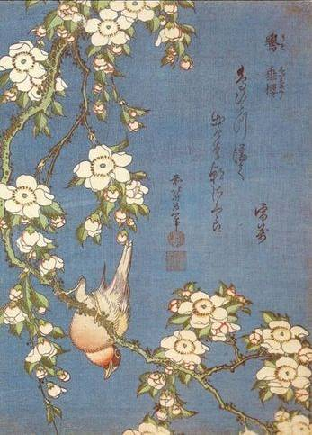 Weeping Cherry and Bullfinch - Katsushika Hokusai