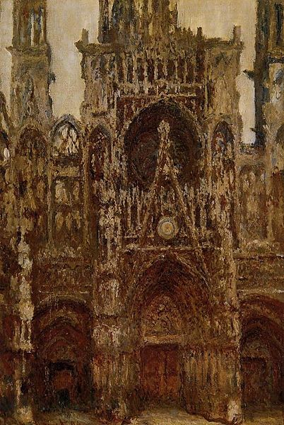 West Portal Dull Weather Rouen Cathedral - Claude Monet