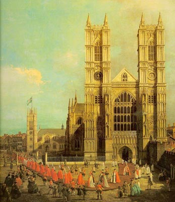 Westminster Abbey with a Procession of the Knights of Bath - Canaletto