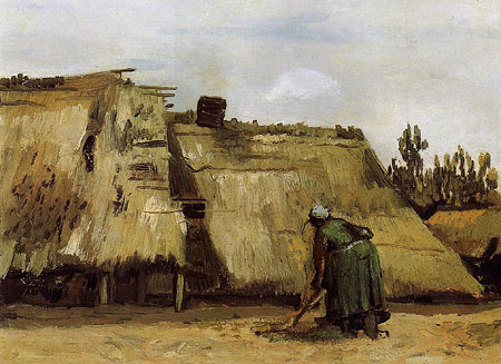 Woman Digging Before Her Cottage - Vincent van Gogh