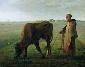 Woman Grazing Her Cow - Jean Francois Millet