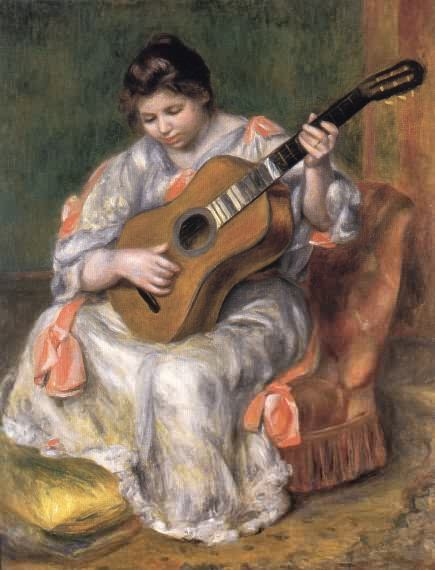 Woman Playing the Guitar - Pierre Auguste Renoir