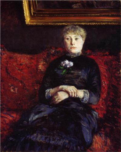 Woman Sitting on a Red Flowered Sofa - Gustave Caillebotte