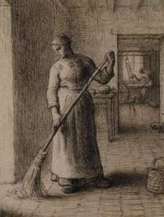 Woman Sweeping Her Home - Jean Francois Millet