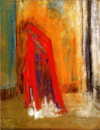 Woman in Red - Odilon Redon