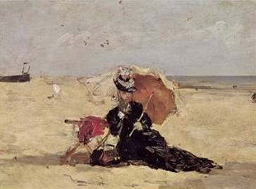 Woman with a Parasol on the Beach - Eugene Boudin