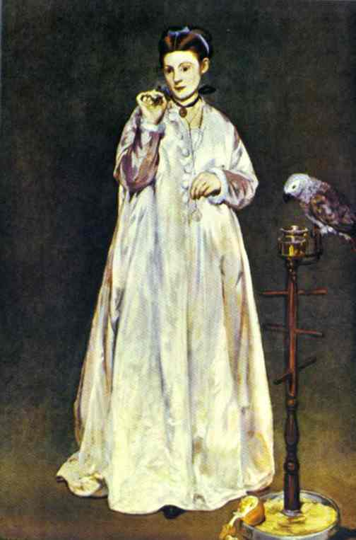 Woman with a Parrot - Edouard Manet