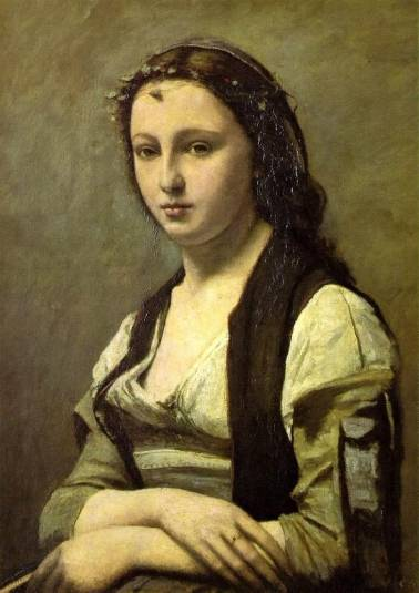 Woman with a Pearl - Jean Baptiste Camille Corot