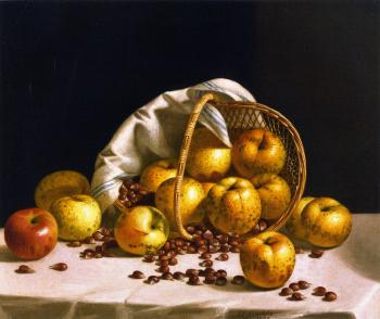 Yellow Apples and Chestnuts Spilling from a Basket - John F Francis