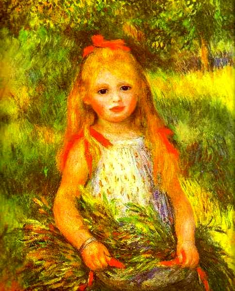 Young Girl with Sheaf - Pierre Auguste Renoir