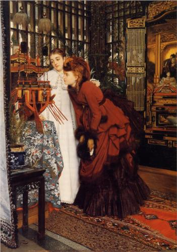 Young Ladies Looking at Japanese Objects - James Tissot