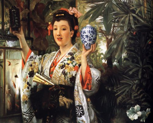 Young Lady Holding Japanese Objects - James Tissot