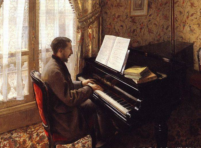 Young Man Playing the Piano - Gustave Caillebotte