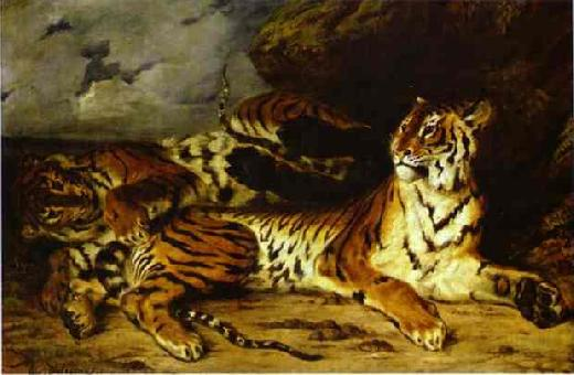Young Tiger Playing with its Mother - Eugene Delacroix